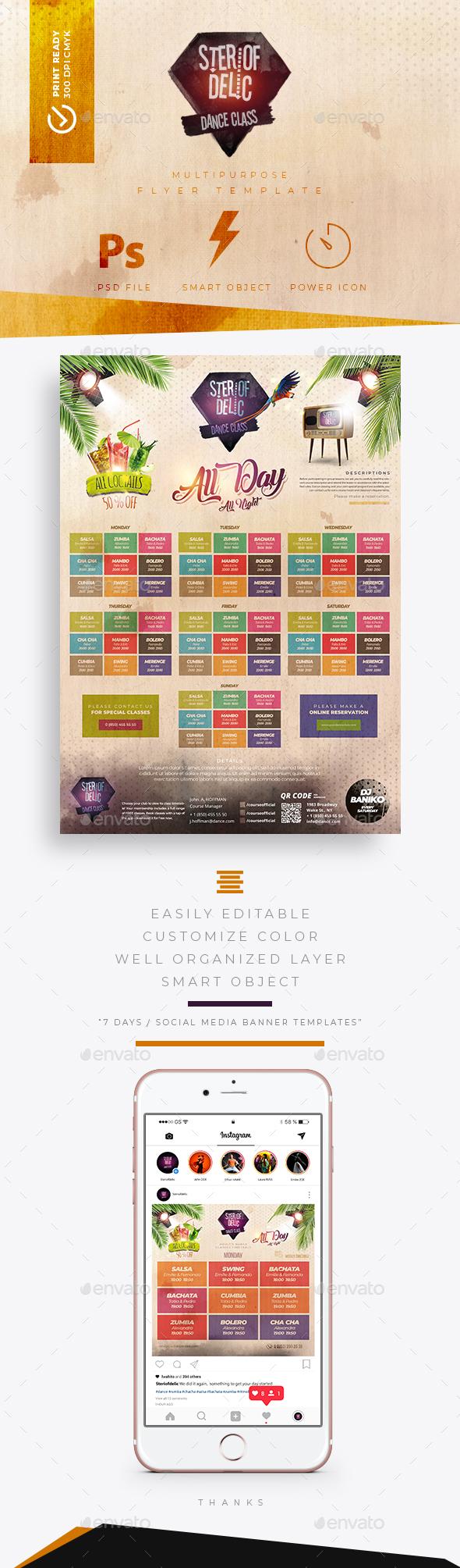 dance classes timetable schedule templates by rocketpixel