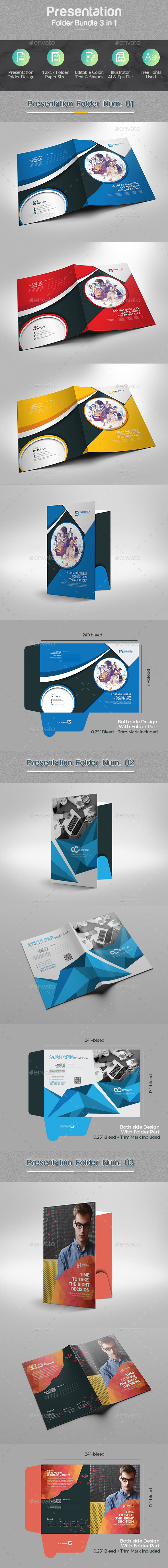 Presentation Folder Bundle 3 in 1 - Stationery Print Templates