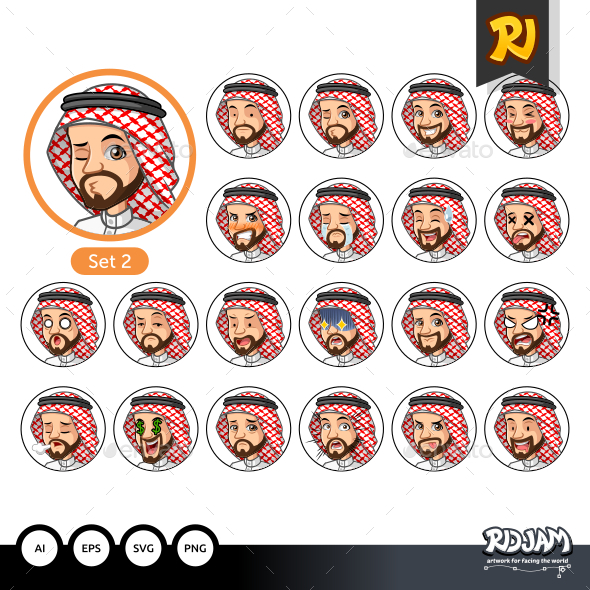 The Second Set of Saudi Arab Man Cartoon Character Design Avatars - People Characters