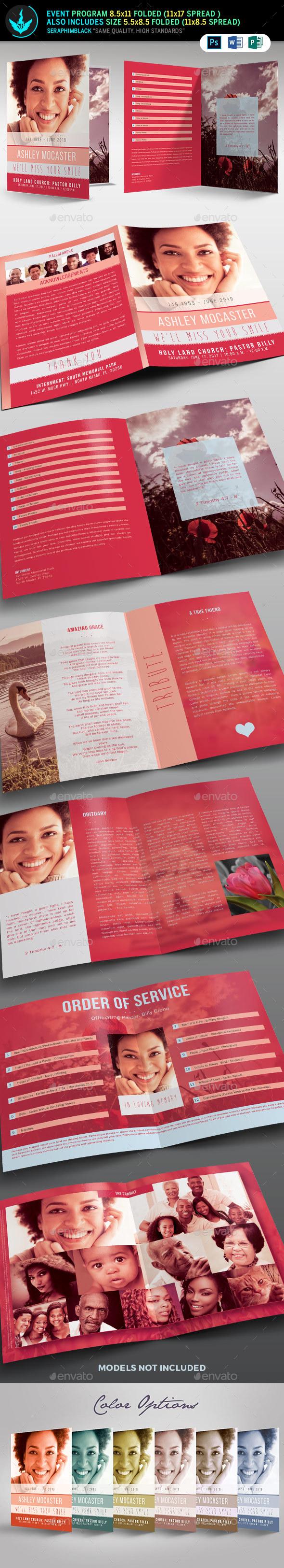 Smile Funeral Program Template - Informational Brochures