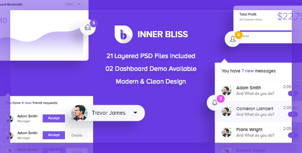 Inner Bliss - Creative Admin PSD Template - Technology PSD Templates