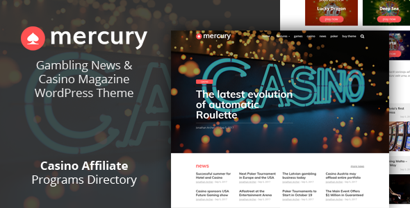 Mercury - Gambling News & Casino Magazine WordPress Theme - News / Editorial Blog / Magazine
