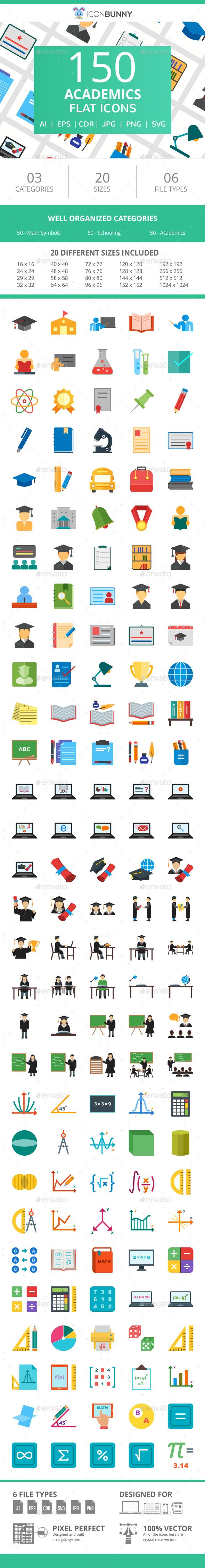 150 Academics Flat Icons - Icons