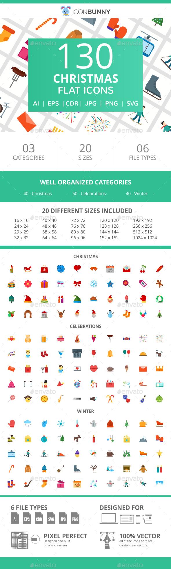 130 Christmas Flat Icons - Icons