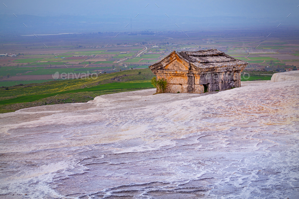 Ancient tomb on Travertine hills in Hierapolis near Pamukkale, Turkey - Stock Photo - Images