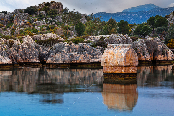 Lycian tombs in Kalekoy. Simena. - Stock Photo - Images
