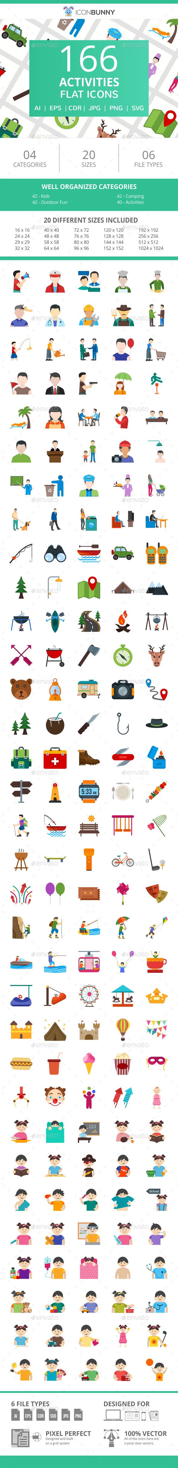 166 Activities Flat Icons - Icons