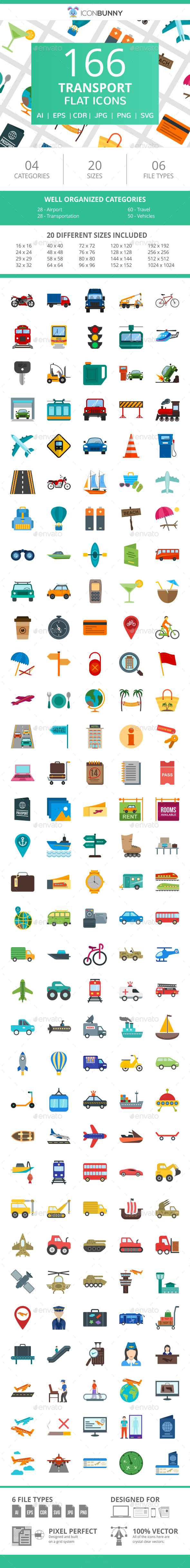 166 Transport Flat Icons - Icons