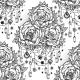 Rose and Jewel Beads Ornate Seamless Pattern.