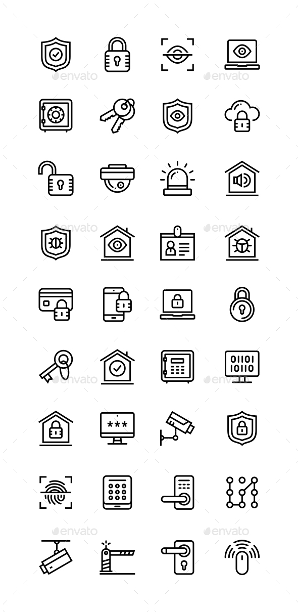 Security and Protection Simple Vector Icons for Web and Mobile Design Pack - Technology Icons