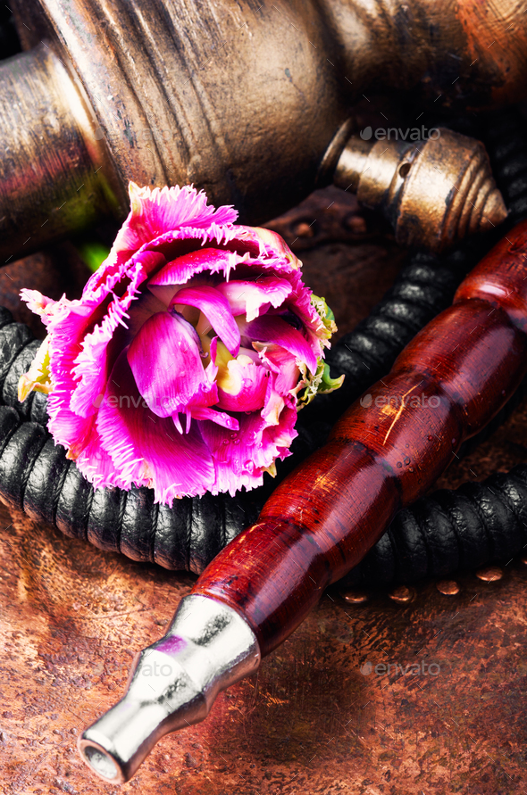 Oriental tobacco hookah with floral aroma - Stock Photo - Images