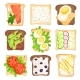Flat Vector Set of Toasted Bread Slices