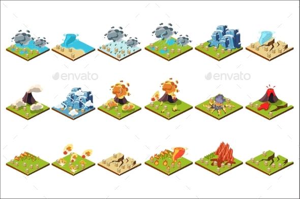 Natural Disaster Set, Volcanic Eruption, Tornado - Miscellaneous Vectors