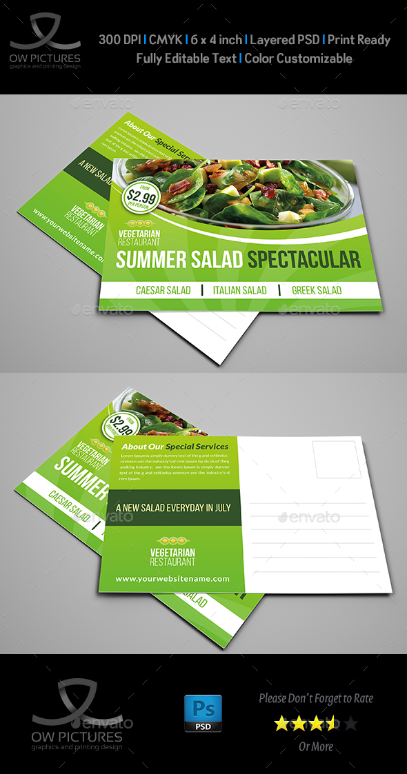 Salad Restaurant Postcard Template - Cards & Invites Print Templates