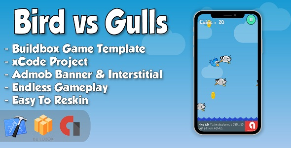 Bird vs Gulls - xCode iOS Project and Buildbox Game Template            Nulled