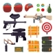 Paintball Icons Set Vector. Paintball Game