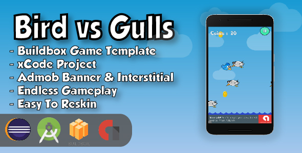 Bird vs Gulls - Android Studio Project & Eclipse Project & Buildbox Game Template            Nulled