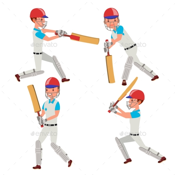 Cricket Player Vector. Wearing Sport Uniform - Sports/Activity Conceptual