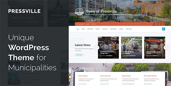 Pressville - Unique WordPress Theme for Municipalities - Nonprofit WordPress