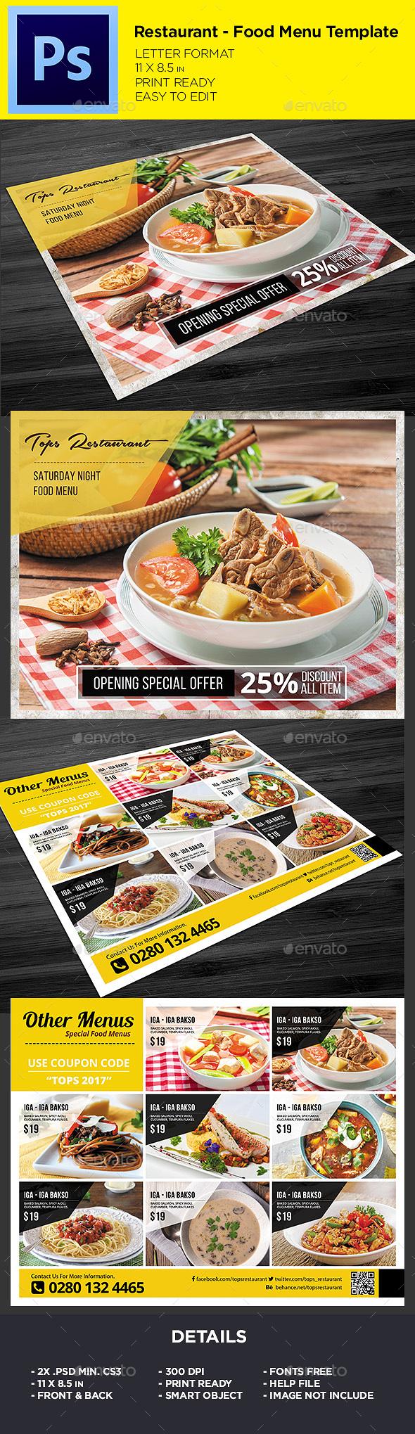 Restaurant Menu - Food Menu Flyer - Restaurant Flyers