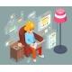 Work Home Wonam Girl Sit Armchair Laptop Working