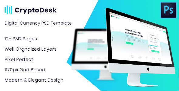 CryptoDesk - A Crypto Currency PSD Template - Technology PSD Templates