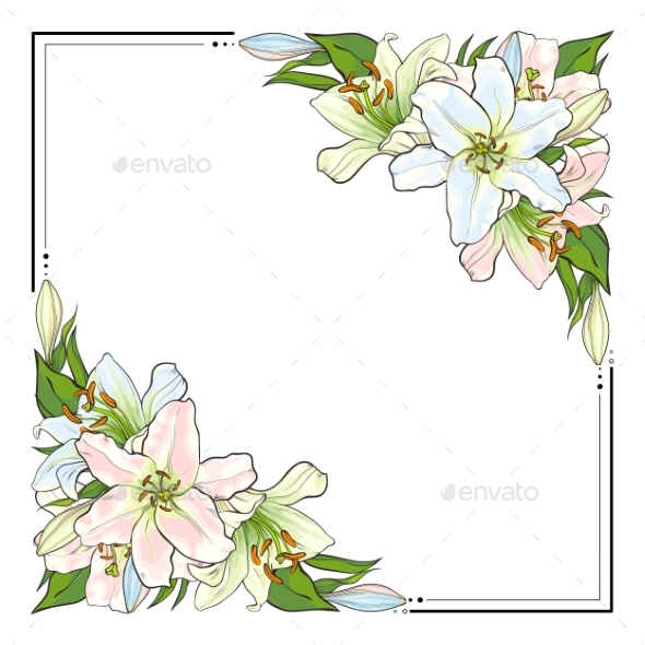 Square Frame Decorated with Hand-Drawn Lilies - Flowers & Plants Nature