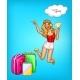 Vector Pop Art Girl with Tickets and Suitcases