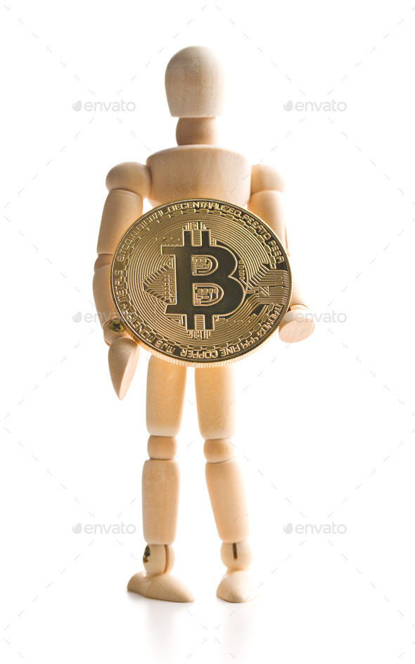 Bitcoin currency and wooden puppet. - Stock Photo - Images