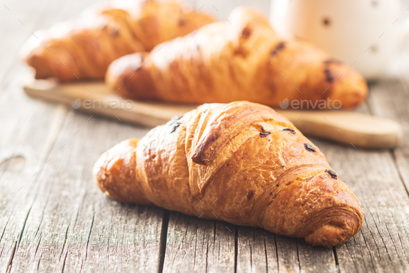Croissant with chocolate crumbs - Stock Photo - Images