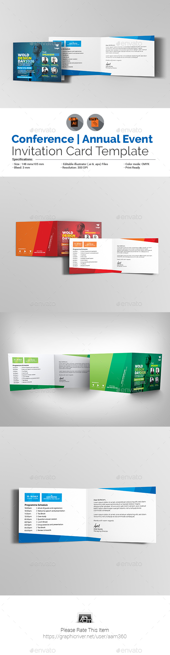 Conference Invitation Card Template - Cards & Invites Print Templates