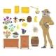 Honey Bee, Honeycomb, Beehive and Beekeeper Icon