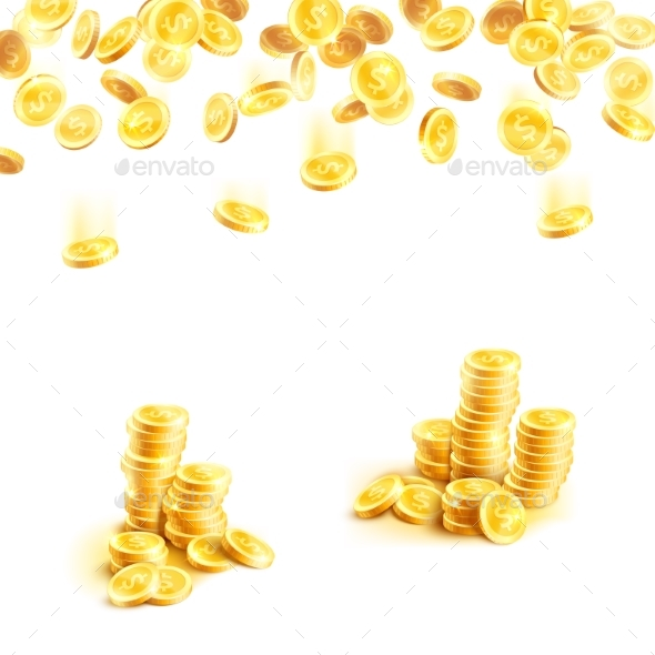 Golden Rain of Money and Stack of Gold Coin Poster - Business Conceptual