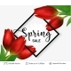 Spring Season Red Tulips and Sale Text. - GraphicRiver Item for Sale