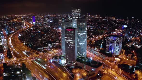 Night Tel Aviv Business City Center from Birds View, Israel 4k Aerial Drone  by rasika108