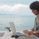 Happy Young Beautiful Woman Using Laptop, Outdoors - VideoHive Item for Sale