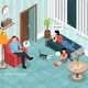 Family Home Chatting Isometric Poster