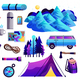 Hiking Camping Colorful Set