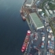 Drone Shoot Bay with Ships at Piers and a Beautiful Bridge - VideoHive Item for Sale