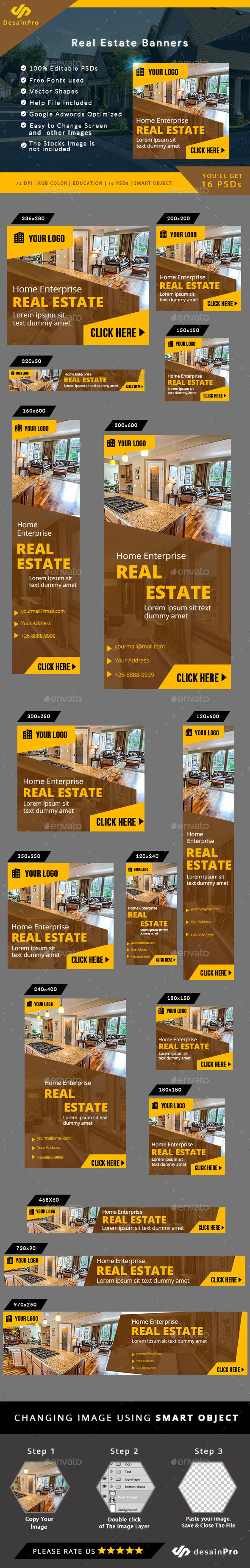 Real Estate Ad Banners - AR - Banners & Ads Web Elements