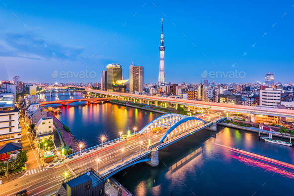 Tokyo Japan Sumida Skyline - Stock Photo - Images
