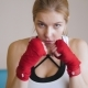 The Energetic Woman In The Gym Boxing. A Look At The Enemy. A Looking At The Camera - VideoHive Item for Sale