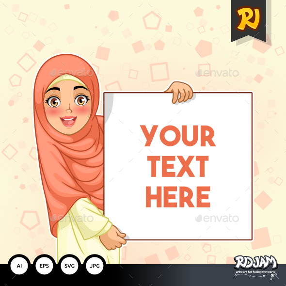 Muslim Woman Smiling Holding Blank Board - People Characters