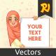 Muslim Woman Smiling Holding Blank Board