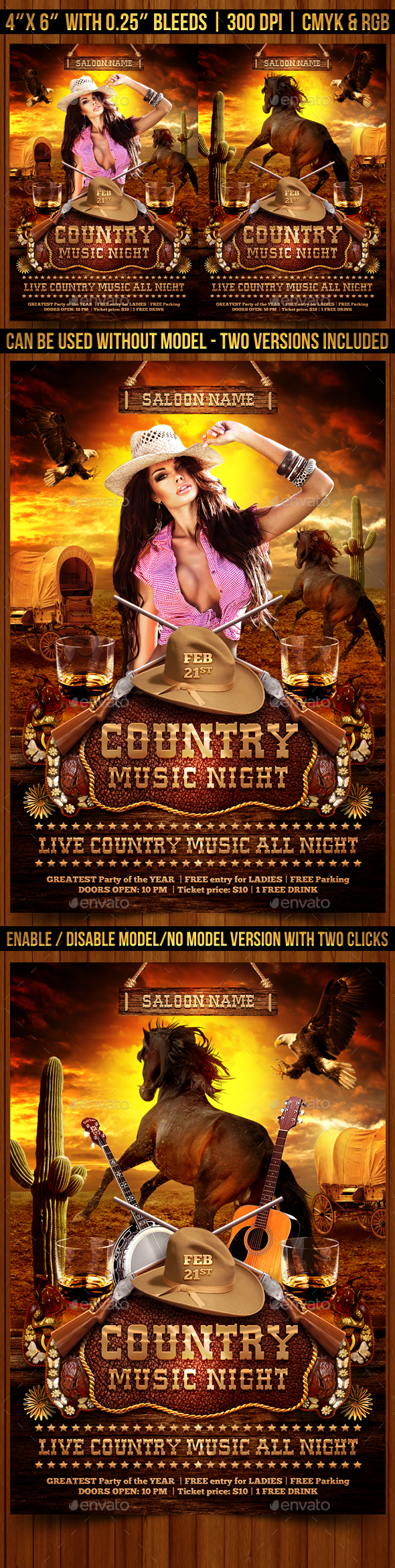 Country Music Night Flyer Template - Clubs & Parties Events
