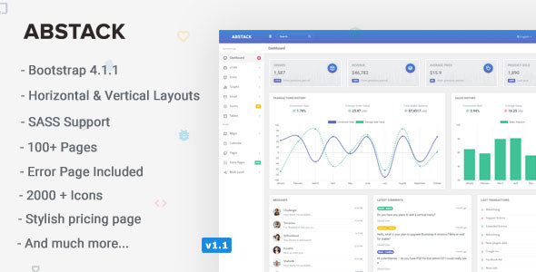 Abstack - Responsive Bootstrap 4 Web App Kit - Admin Templates Site Templates