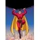 Superhero Holding Boulder Above City