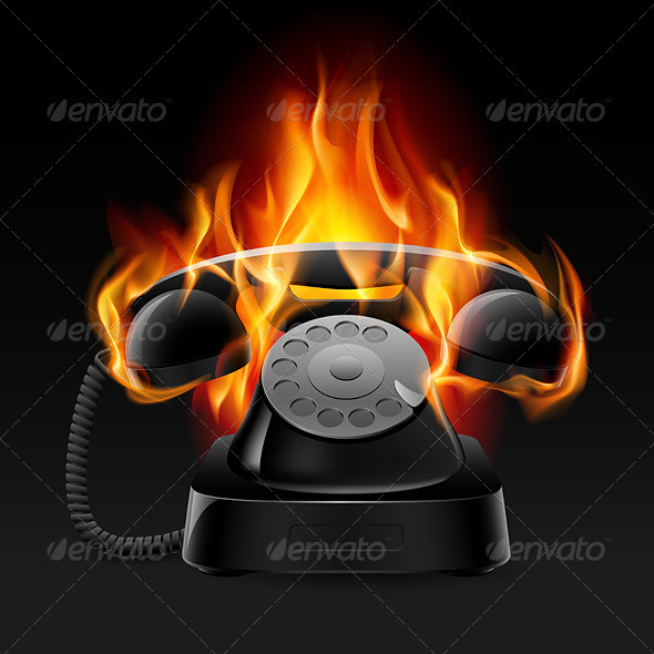 Realistic fire retro phone - Objects Vectors