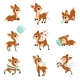 Flat Vector Set of Fawns in Different Actions