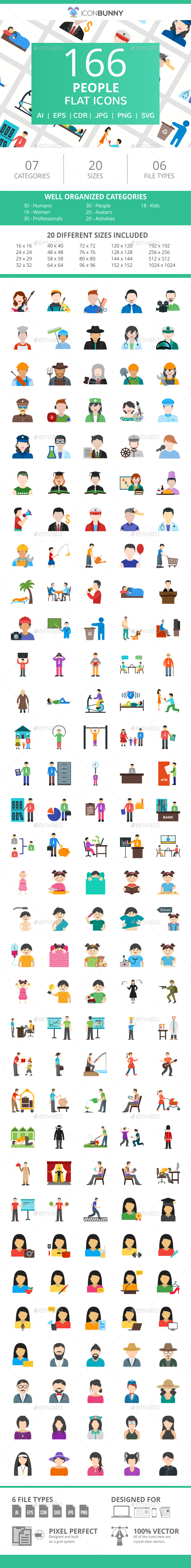 166 People Flat Icons - Icons